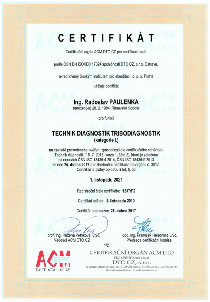 Certifikát technik diagnostik tribodiagnostik I.