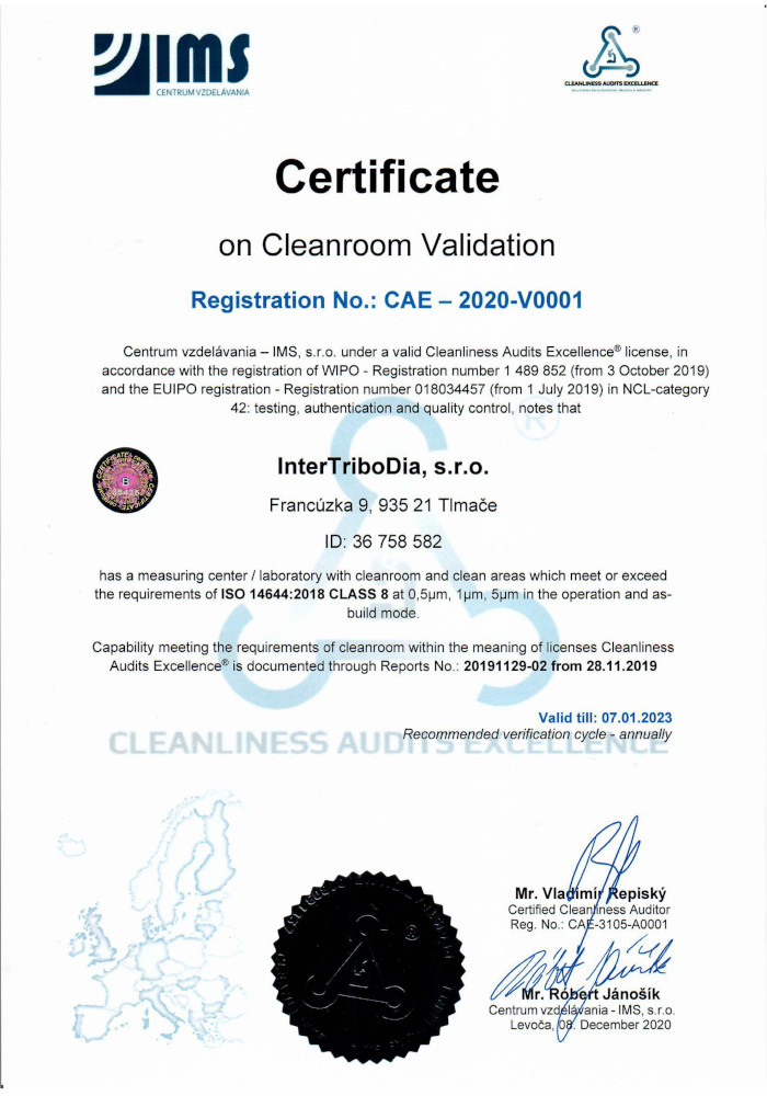 Certificate on Cleanroom Validation